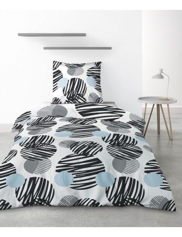 Parure de lit 1 personne Cerclus avec housse de couette et taie d'oreiller Imprimé 140 x 200 6824000502Les Ateliers du Linge