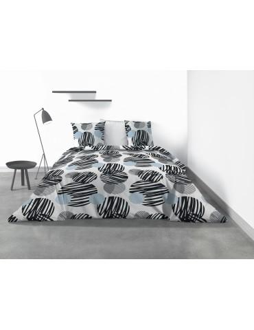 Parure de lit 2 personnes Cerclus avec housse de couette et taies d'oreiller Imprimé 240 x 260 6872000503Les Ateliers du Linge