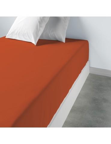 Drap housse uni Coton Terracotta 160 x 200 x 35 4565047501Les Ateliers du Linge