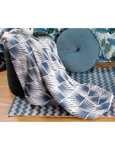 Plaid ciselé Phao Bleu denim 130 x 160 8655063000Les Ateliers du Linge