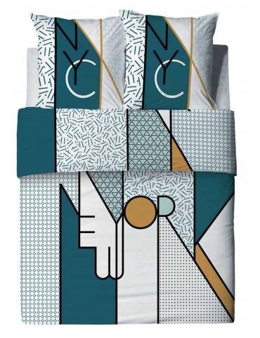 Parure de lit 2 personnes NYC avec housse de couette et taies d'oreiller imprimé 260 x 240 2650000000Les Ateliers du Linge