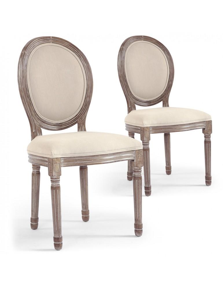 Lot de 2 chaises médaillon Louis XVI Tissu Beige 2450132beige