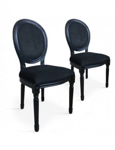 Lot de 2 chaises médaillon Louis XVI Black Velours Noir 24501blackvnoir