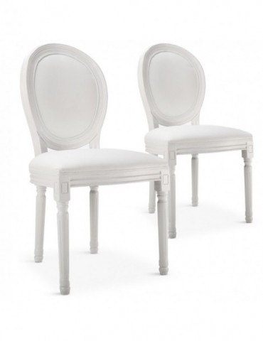 Lot de 2 chaises médaillon Louis XVI Simili (P.U) Blanc 24501publanc