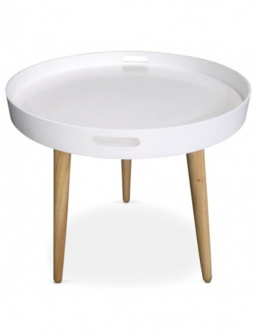 Table d'appoint ronde style scandinave Typik Blanc ls15172blanc
