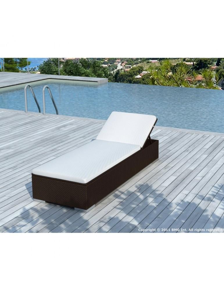 Bain de soleil en résine tressée chocolat/blanc SD9513-CHOCO-WHITE