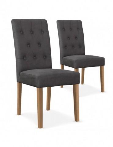 Lot de 2 chaises Cecil Tissu Gris wh11282grey