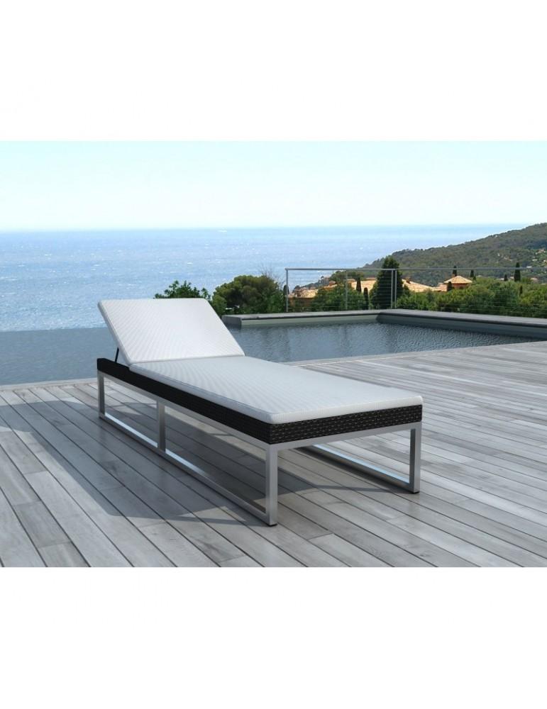 Bain de soleil en résine tressée noire aluminium SD1005-BLACK-WHITE