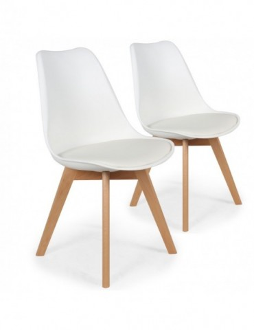 Lot de 2 chaises style scandinave Bovary Blanc ty01white