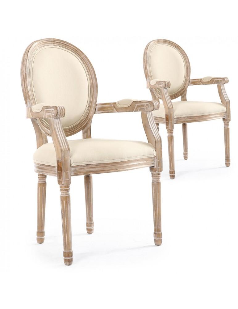 Lot de 2 chaises médaillon Louis XVI Cosy Tissu Beige 24505beige