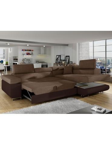 Canapé d'angle Antoni avec têtières relevables angle droit simili Marron et tissu Marron andsoft66sawana25