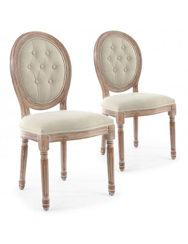 Lot de 2 chaises de style médaillon Louis XVI Bois patiné & tissu capitonné beige 2601ksf25002wb