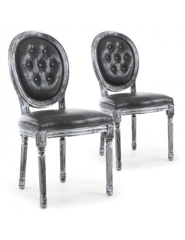 Lot de 2 chaises de style médaillon Louis XVI capitonné Bois noir patiné argent & simili gris 2605ksp25011wb