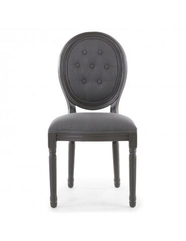 Lot de 2 chaises de style médaillon Louis XVI Bois gris et tissu capitonné gris 2612ltgreywb