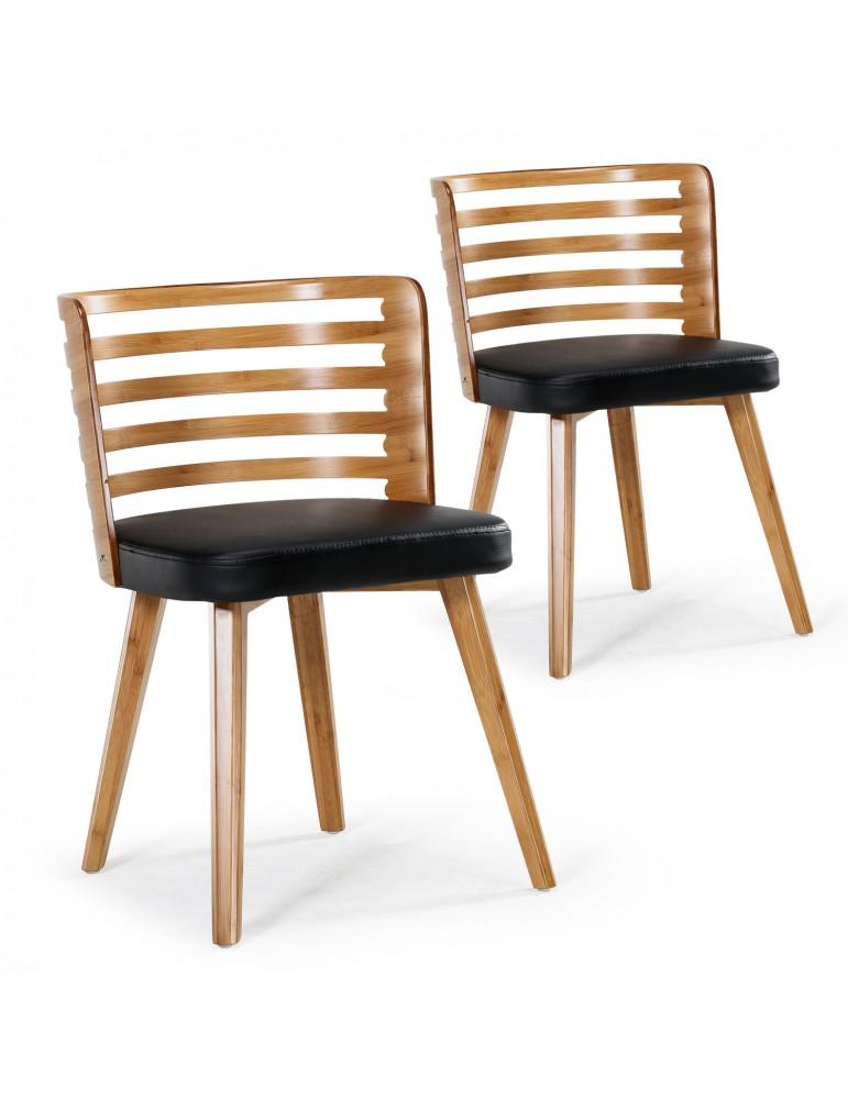 Lot de 2 chaises scandinave Koxy bois naturel et Noir 2xgf160anatnoir