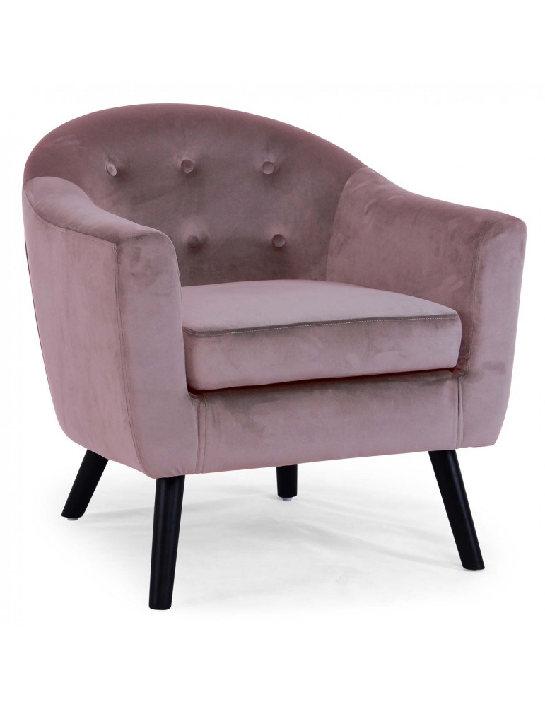 Fauteuil scandinave Savoy Velours Rose qh8805v1rose