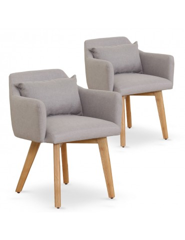 Lot de 2 fauteuils scandinaves Gybson Tissu Beige lf5030lot2beigefabric