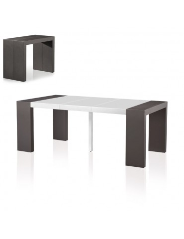 Table Console Nassau Bicolore Gris carbone et Blanc at8027matgreyblanc