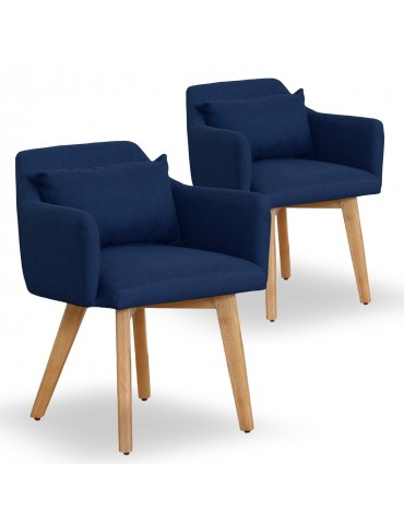 Lot de 2 fauteuils scandinaves Gybson Tissu Bleu lf5030lot2bluefabric