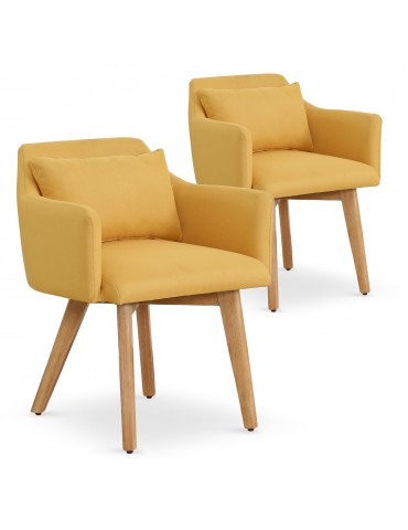Lot de 2 fauteuils scandinaves Gybson Tissu Jaune lf5030lot2yellowfabric