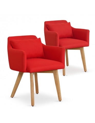 Lot de 2 fauteuils scandinaves Gybson Tissu Rouge lf5030lot2redfabric
