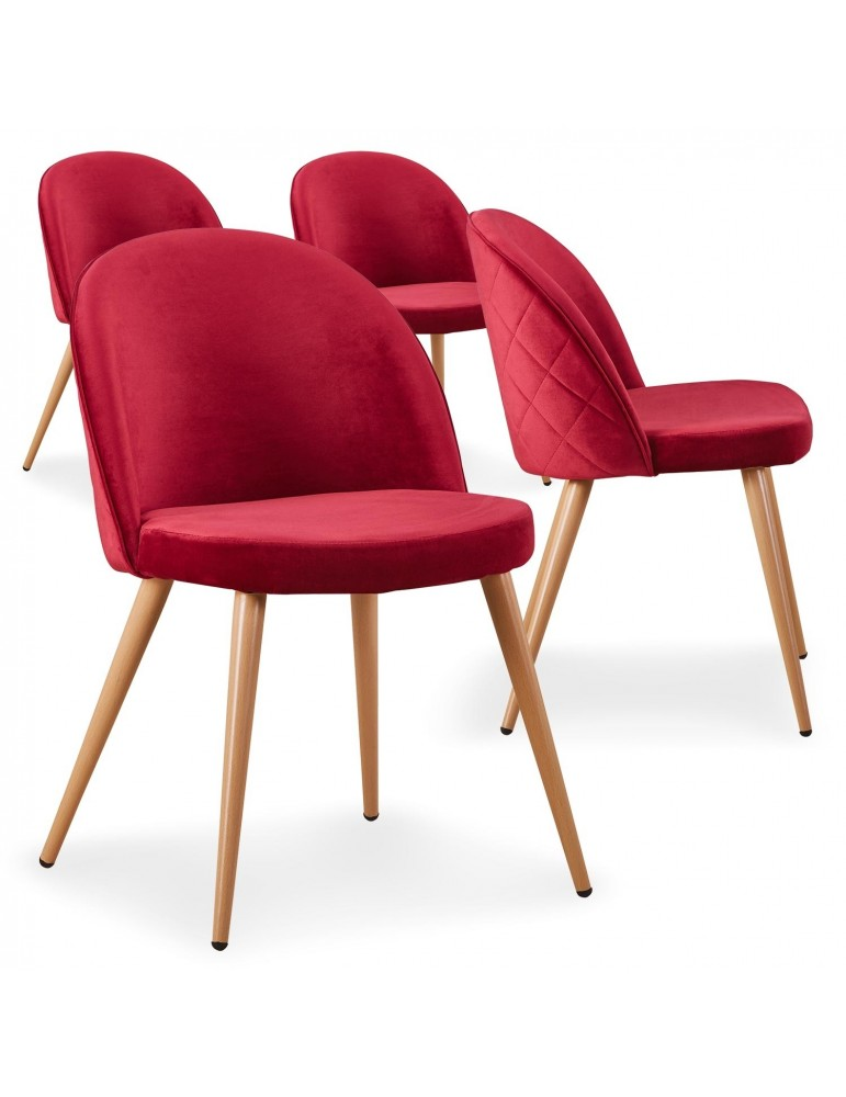 Lot de 4 chaises scandinaves Tartan velours Rouge c815aredvelvet