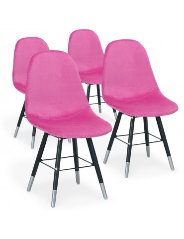 Lot de 4 chaises scandinaves Vlad Velours Rose c952vrose