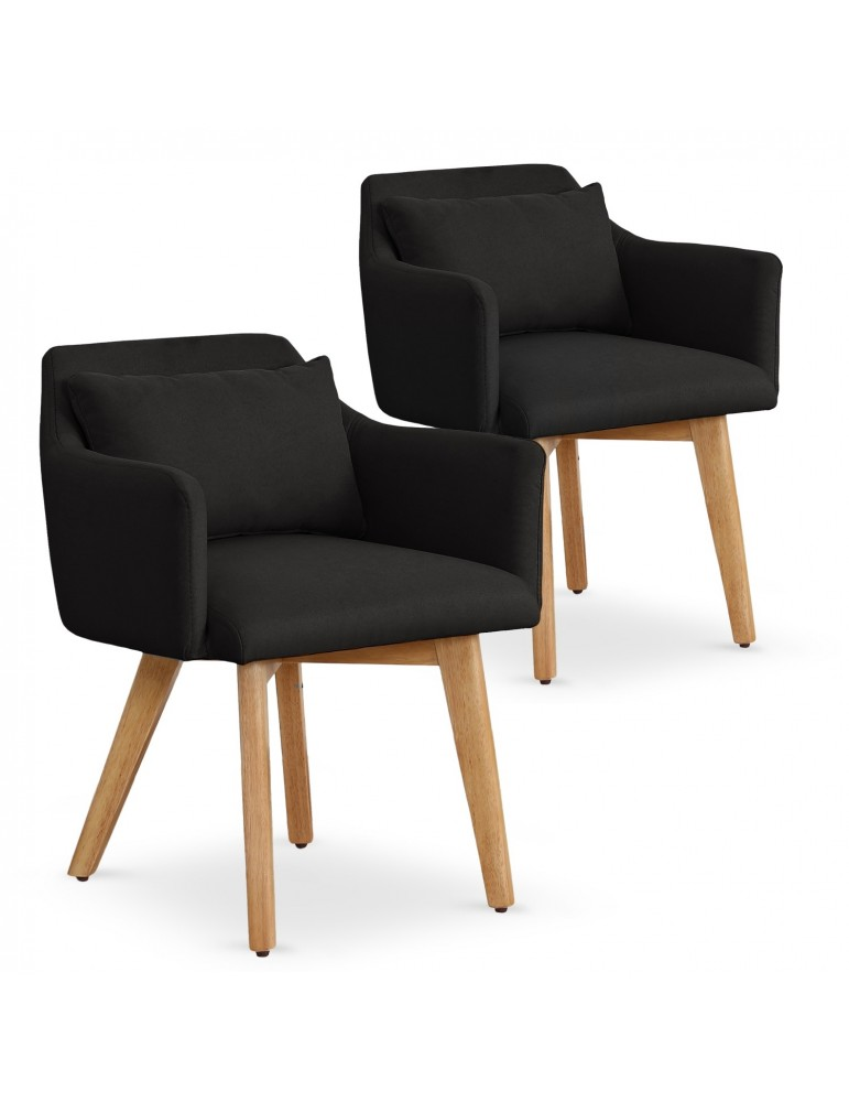 Lot de 2 fauteuils scandinaves Gybson Tissu Noir lf5030lot2blackfabric