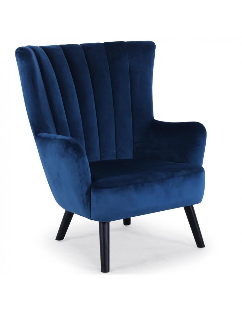 Fauteuil scandinave Vidal en Velours Bleu 8861v1bleu