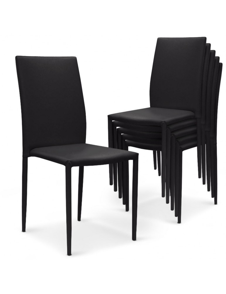 Lot de 30 chaises empilables Modan Simili (P.U) Noir a84pulot30noir