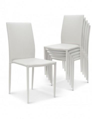 Lot de 30 chaises empilables Modan Simili (P.U) Blanc a84pulot30blanc