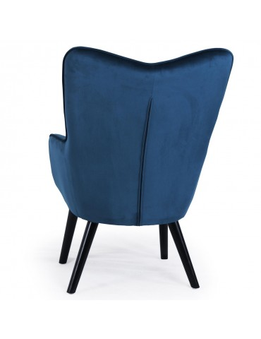 Fauteuil scandinave Klarys Velours Bleu 8801vbleu