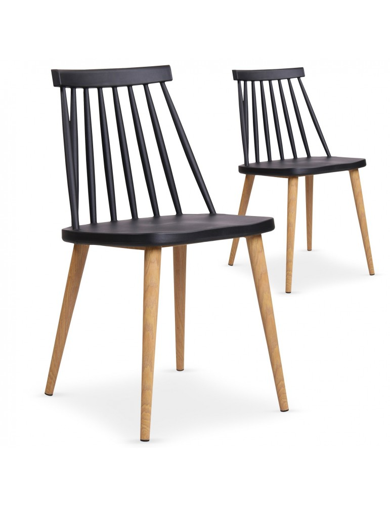 Lot de 2 chaises scandinaves Trouville Noir 8311anoir