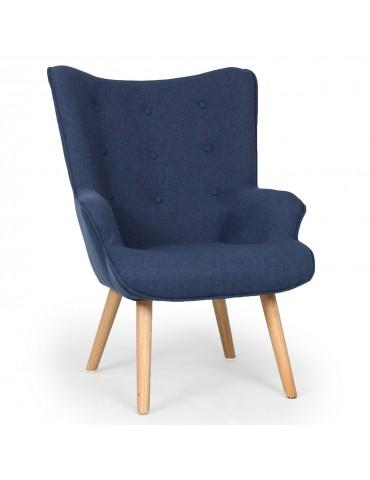 Fauteuil scandinave + pouf Lylou Tissu Bleu qh8901blue168024