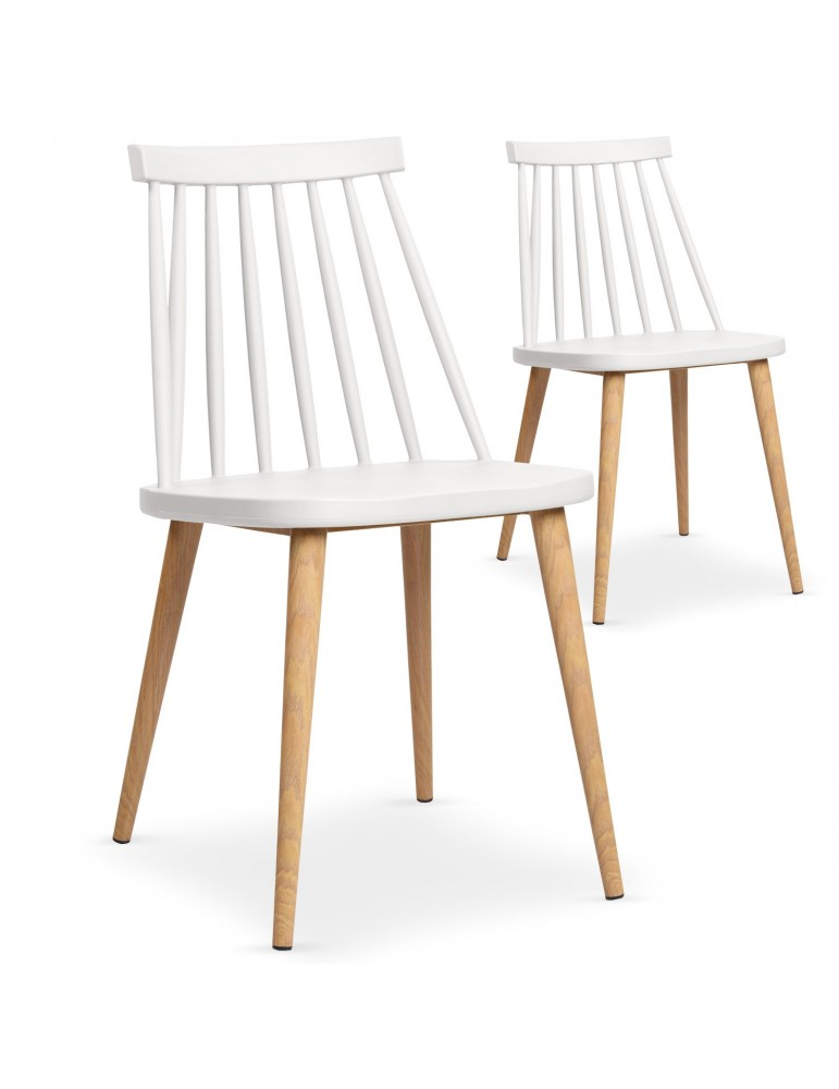 Lot de 2 chaises scandinaves Trouville Blanc 8311ablanc