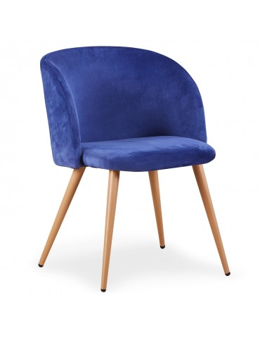 Lot de 2 chaises scandinaves Minima velours Bleu c890velvetblue