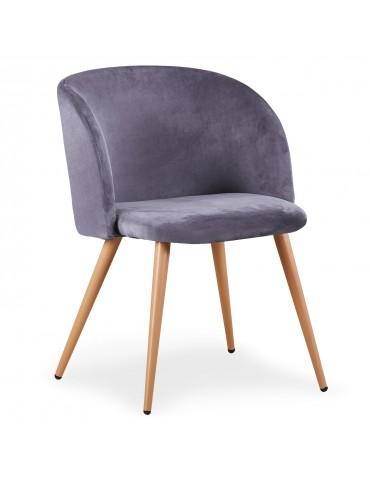 Lot de 2 chaises scandinaves Minima velours Gris c890velvetgrey