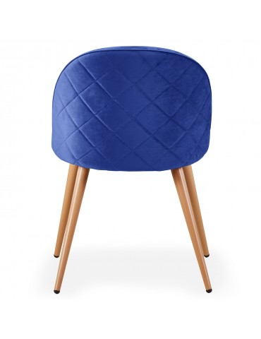 Lot de 4 chaises scandinaves Tartan velours Bleu c815abluevelvet