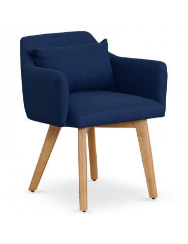 Lot de 2 fauteuils scandinaves Gybson Tissu Bleu lf5030lot2bluefabric