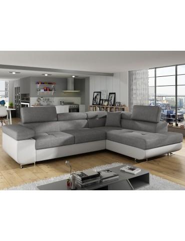 Canapé d'angle Antoni avec têtières relevables angle à droite simili Blanc et tissus Gris clair andsoft17sawana21