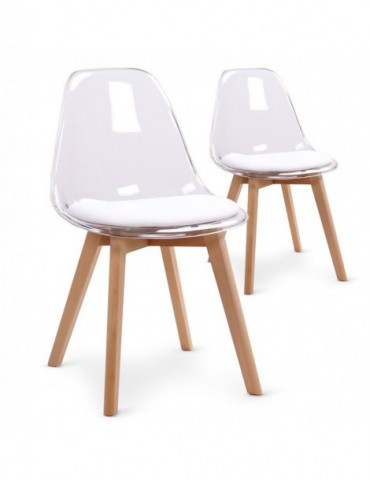 Lot de 2 chaises scandinaves Bovary Plexi Blanc 8056iblanc
