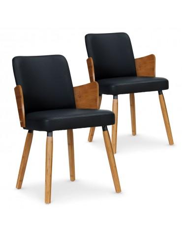 Lot de 2 chaises scandinaves Phibie bois naturel et Noir 2xgf347anatnoir