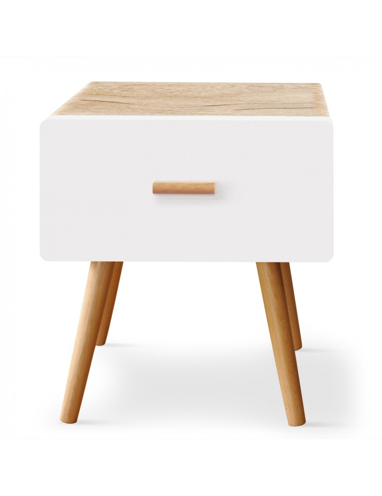 Table de chevet scandinave 1 tiroir Amanda Chêne clair et Blanc vtreblanc