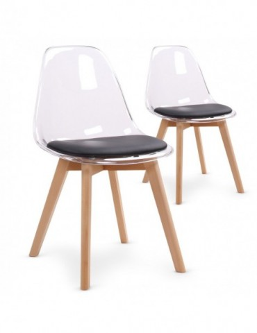 Lot de 2 chaises scandinaves Bovary Plexi Noir 8056inoir