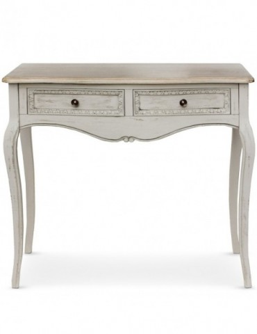 Console 2 tiroirs style Shabby Helena Beige zh14b016gris