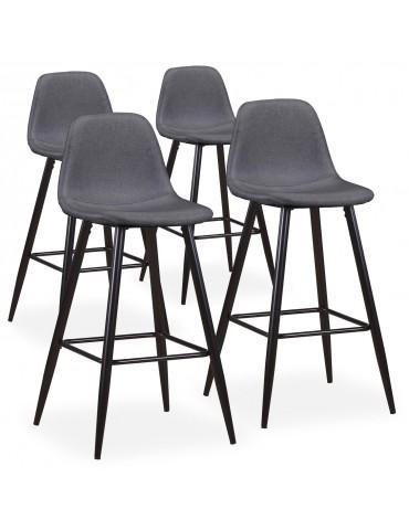 Lot de 4 chaises de bar Jody Tissu Gris bc5270fabricgrey