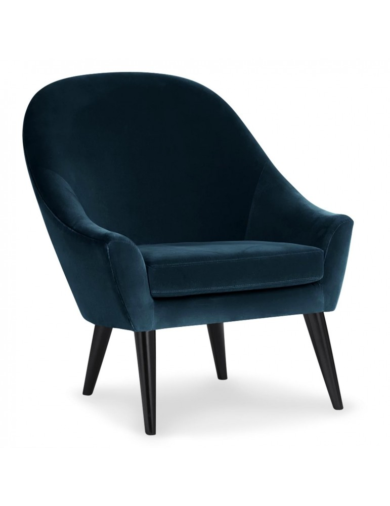 Fauteuil scandinave Dakota Velours Bleu qh892363blue