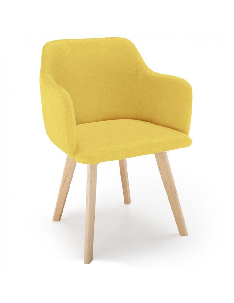 Chaise style scandinave Candy Tissu Jaune lsr15106jaune