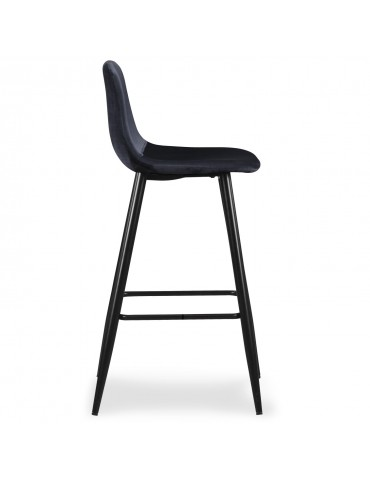 Lot de 4 chaises de bar Jody Velours Noir bc5270velvetblack