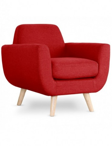 Fauteuil scandinave Danube Tissu Rouge l2081rouge